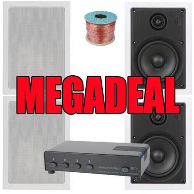 2 Pairs Of 100W 5.25'' Pro Wall Speakers, 8 Zone Speaker Switch & 100m Hi-Grade Cable MEGADEAL