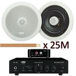 "Pair Of 6.5"" Ceiling Speakers, Amplifier & Bluetooth Receiver"