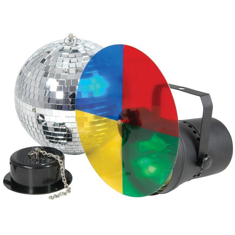 disco ball light set with 20cm dia mirror ball rotating motor. Black Bedroom Furniture Sets. Home Design Ideas