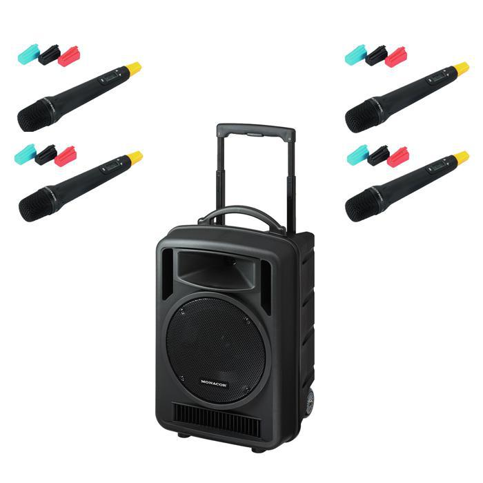 quad portable pa system    hand held microphones