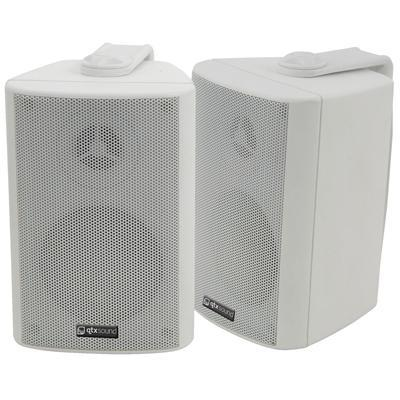 "QTX 30W Stereo Background Speakers 3"" (Pair) - Black Or White"