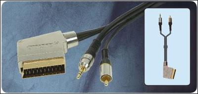 High Performance Switched A/V Cable Scart to 3.5mm Stereo & RCA Plug