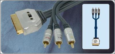 High Performance Switched (In/Out) Scart Plug To 3 RCA Phono Plugs <b>Various Lengths</b>