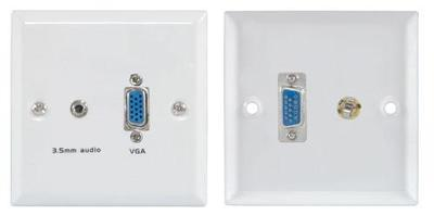 VGA and 3.5mm Audio Wallplate White