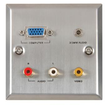 Thru-VGA/Audio/Video Steel Wallplate ST