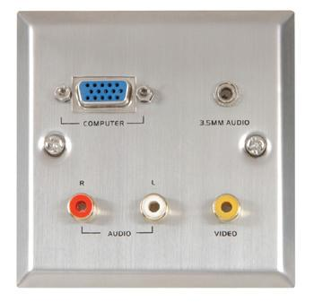 VGA/Audio/Video Steel Wallplate