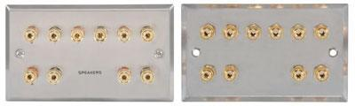 5.1 Speaker Wallplate with Gold Plated Binding Posts (steel)
