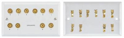 5.1 Speaker Wallplate with Gold Plated Binding Posts (white)