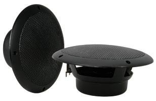 Pair Of 100W Max 8 Ohm Water Resistant Ceiling Speakers - Black