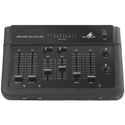 Monacor MPX-4200 Stereo Audio Mixer With Line & Mic Inputs