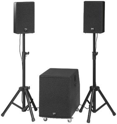 Compact Professional Active PA System, 1,500WMAX, 1,100WRMS