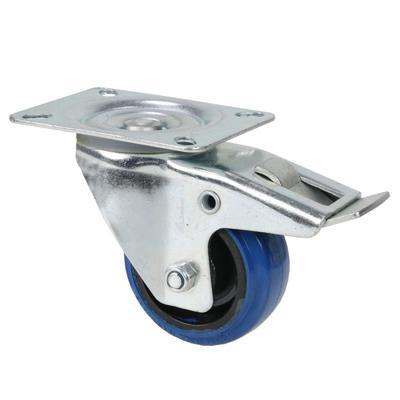 Adam Hall Swivel Castor 80mm With Blue Wheel & Brake