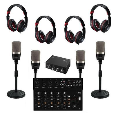 Quad Mic Podast Kit With USB Mixer For Extra Input