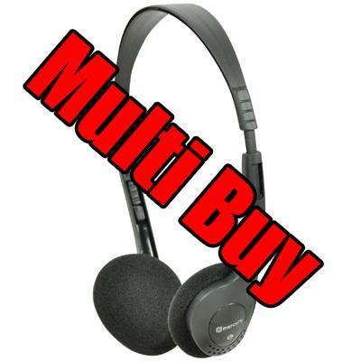 <b>Multi Buy</b> 100 Lightweight Stereo Headphones - Ideal for Computers