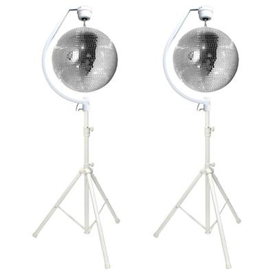 2 X 50CM Mirror Balls With 2 Hanging Brackets And 2 Stands