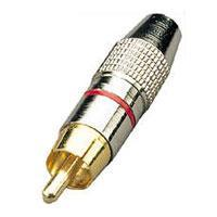 Gold Plated RCA Phono Plug Red Ident Ring
