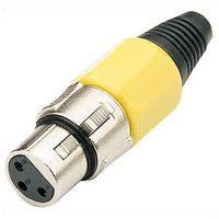 Pair of 3 Pin XLR Sockets In Yellow