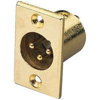Gold Plated 3 Pin XLR Plug Chassis Connector