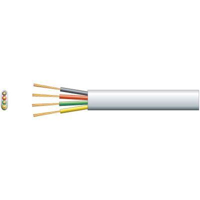 Flat 4 Core Telephone Cable 100m White