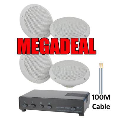 2 Pairs of 100W, 100m Cable & 4-Way Speaker Switch MEGADEAL
