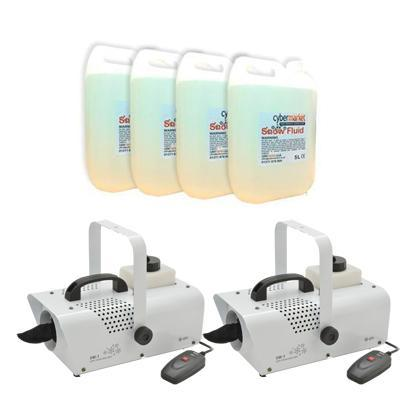 2 x Mini Christmas Snow Machine with 20L Snow Fluid