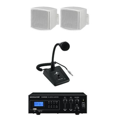 Waiting room speakers, microphone and amplifier PA package