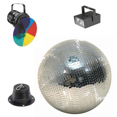 Disco Light Set 400 - 40cm Mirror Ball, Motor, Colour Wheel & Strobe