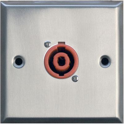 Silver Metal AV Wall Plate With 1 x 2 Pole Speaker Connector
