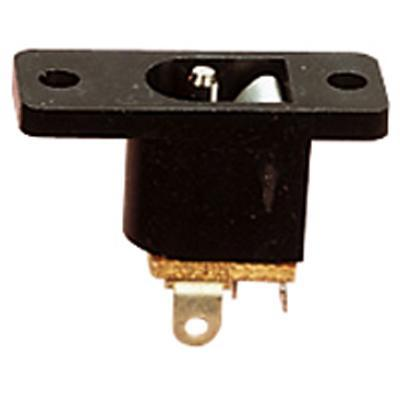 Black 2.1 mm Centre Pin DC Power Chassis Socket with Hard Plastic Body and Solder Terminals