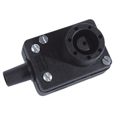 Black 6A 8 Pin Bulgin Line Socket with Cable Protector