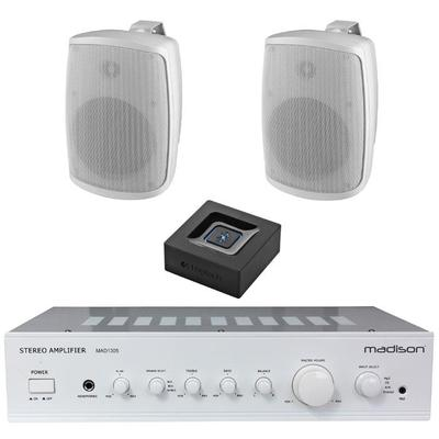 "Madison Amp Pair Of 4"" Outdoor Speakers And Bluetooth"