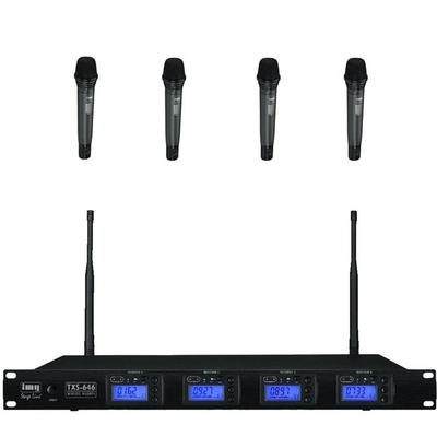 Quad Wireless Microphone System with 4 x Handheld Mics