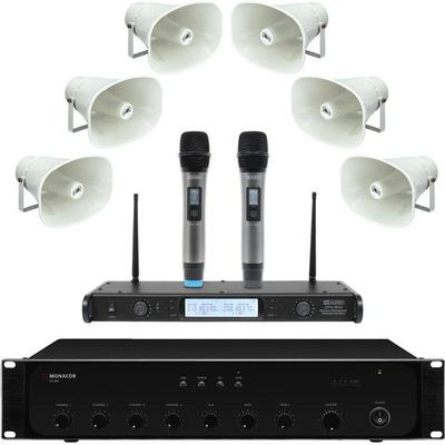 PA System With 6 Horn Speakers And Dual Wireless Microphone