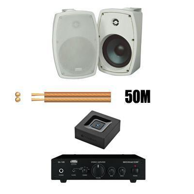 Bluetooth Outdoor Garden Speaker Kit with Amp, speakers and cable