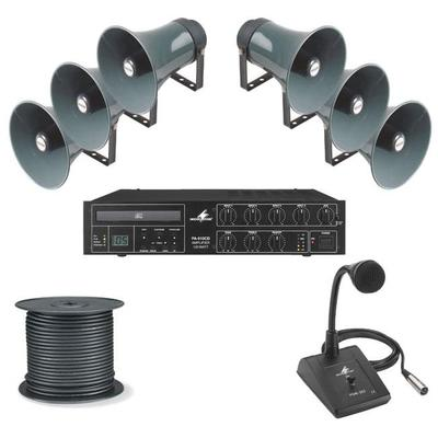 PA Package 4 - 6 Horn Speakers, 120W Amp with Built In CD Player, Paging Mic & 100M Cable