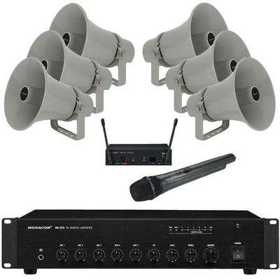 PA Package 6 Horn Speakers, 120W Amp, Wireless Mic & Cable - MEGADEAL