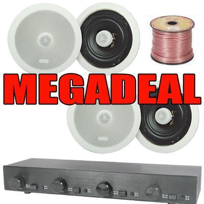 "2 Or 4 Pairs Of 8"" Ceiling Speaker, 4-Zone Volume Control & 100m Cable"