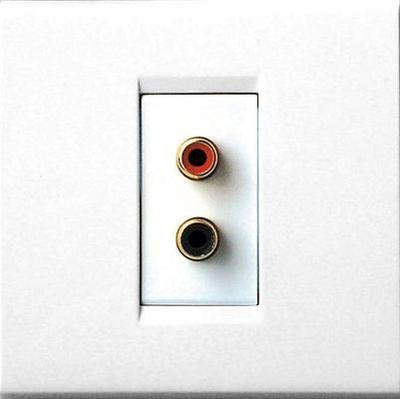 Qed Gold Plated Stereo Rca Socket Wall Plate