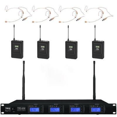 Quad Wireless Microphone System with 4 x Headset Microphones