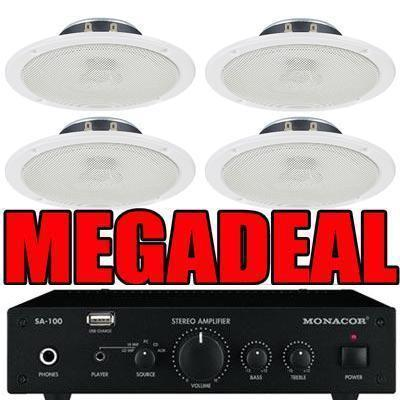SA-100 Amplifier with 4 x Ceiling Speakers And Megadeal Logo