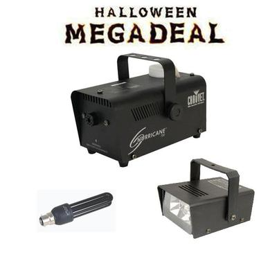 Halloween smoke machine, strobe and lighting megadeal pack