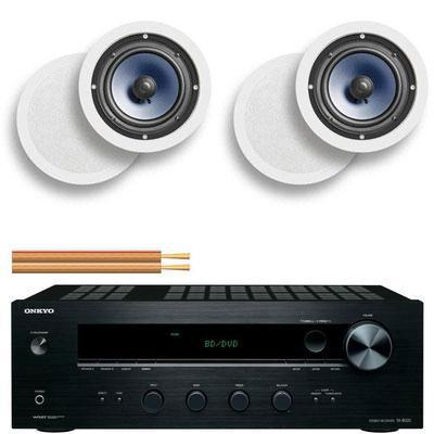Onkyo TX-8020 Amplifier Radio, 2 x Polk RC60i Ceiling Speakers