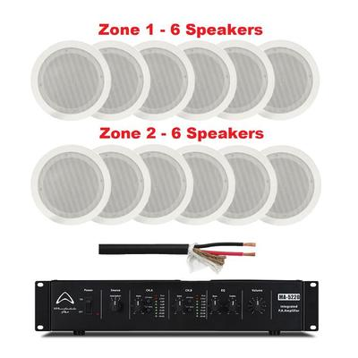 Wharfedale Amplifier 2 Zone 2 X 200W RMS With 12 x 100V Line Ceiling Speakers