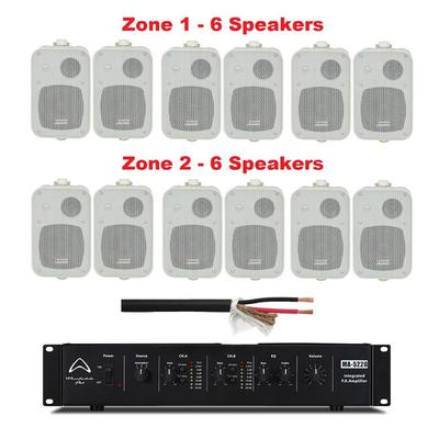 Wharfedale Ampilifier 2 Zone With 12 x 100V Line Wall Mount Speakers
