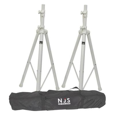 2 x White NJS Speaker Stands (35mm) With Bag