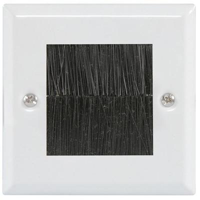Single Gang Brush Wall Plate - Steel or White