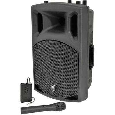 "QTX 15"" Active 500W PA Speaker VHF Wireless Handheld and Body Pack Mic"