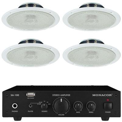 Sa 100 Amplifier With 4 X Ceiling Speakers No Cable