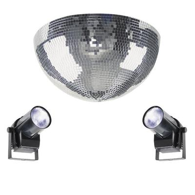 40CM Half Mirror Ball With 2 X LED Pinspots