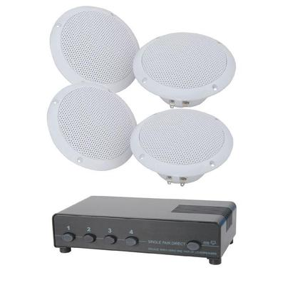 2 Pairs of 80W <b>Ceiling Speakers</b>, 100m Cable & 4-Way Switch MEGADEAL